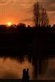 Winter sunset walk at the park
