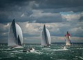 Three J Class yachts racing in the Solent