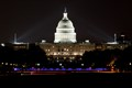 Emergency vehicle lights completes this patriotic portrait of the U.S. Capitol building.