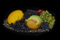 Melons and Grapes in silver plate
