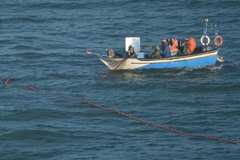 Portugal_2013_Fishermen at work, Nazare coastline (cropped) _266a