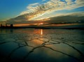 Sunset over the iced lake...