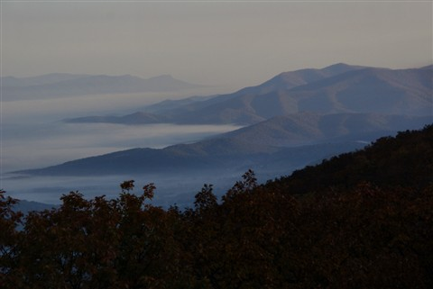 Morning fog covers Shenandoah - from Big Meadows Lodge
