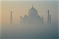 First sunrays on the Taj Mahal