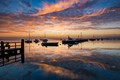 Keyhaven harbour, Hampshire at dawn.