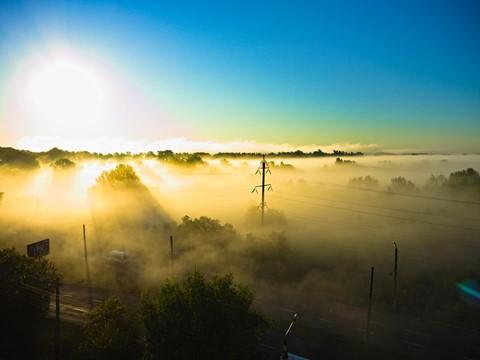 Morning fog in Sunrise lights