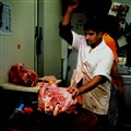 Cutting a beef head