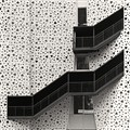 Black Staircase on White