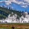 Yellowstone Geysers: Steam rises next to Grand Prismatic Geyser in Yellowstone park