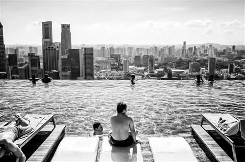 Skyline from Infinity Pool - Marina Bay Sands, Singapore