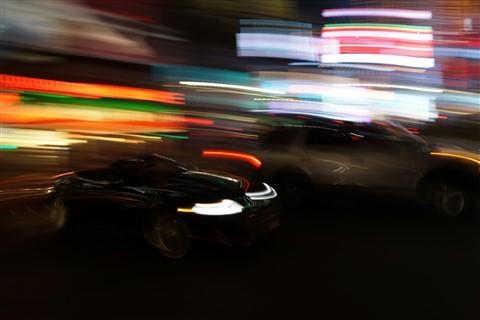 NY car light trail