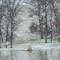 Snowfall showing lake across Bieker Road, in Washington, Missouri, USA