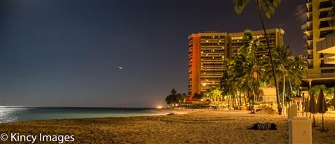 PreDawn Passenger Jet taking off over Waikiki