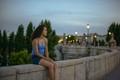 Sunset Portrait at Segovia Bridge. Madrid city