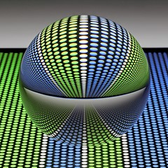 Glass ball on a perforated metal plate _2