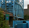 Blue Rail Road bridge and truck