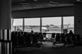 Between two planes, JFK.