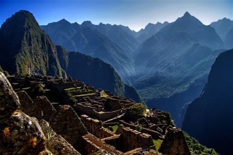 Inca ruins in the blue haze at Machu Picchu