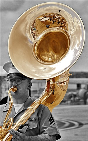 Marine tuba player mono with yellow