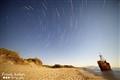 Startrails wreck Gythio Greece