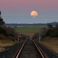 Full moon setting at Kellys Plains, near Armidale NSW.
