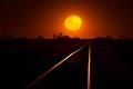 Rail line & Moon Rise