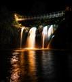 Nighttime waterfall