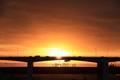 Morning over the 1st of April bridge in Lisbon, Portugal