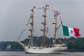 The Cuauhtemoc is a training vessel of the Mexican Navy.  She was built in Spain in 1982 to a design very similar to the  Blohm + Voss shipyard's 1930s design of the Gorch Fock, USCGC Eagle and the NRP Sagres.
