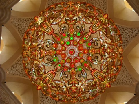 Chandelier in the Grand Mosque, Abu Dhabi.