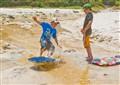 2 kids on beach