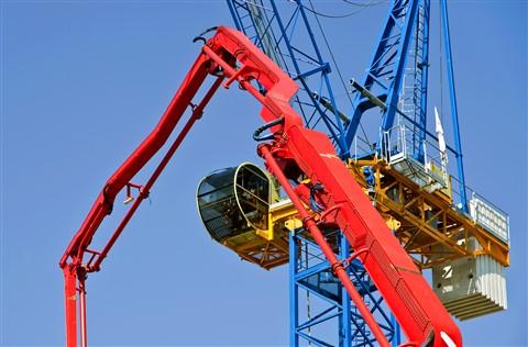 Concrete pourer and crane