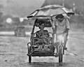Family in the rain