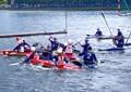 Germany vs Switzerland in kayak water polo on the Binnenalster in Hamburg, Germany.