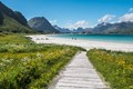 The path to the beach at Ramberg - Lofoten Islands in Norway.