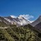 Everest (8,848m) behind the Lhotse (4th highest mountain - 8,516m) sighted about 1 hour climb from Namche Bazaar enroute Tengboche - Nepal - Everest Base Camp - April 2017