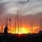 Sunset at boat yard