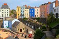 Colourful street in Tenby (Wales)