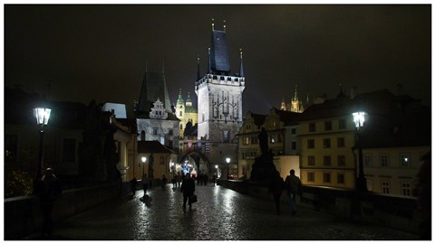 A wet night on the Charles Bridge