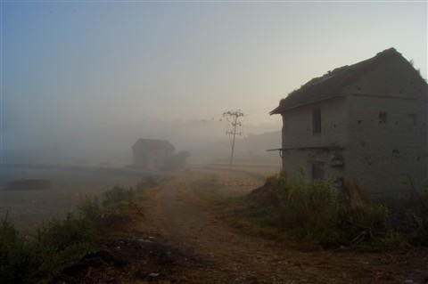 The foggy village