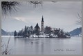monastery, in center of frozen lake