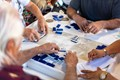 Old Cubans playing Dominos in Domino Park in Little Havana, Miami