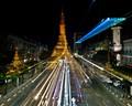 Sule Pagoda, Yangon from an elevated crosswalk.