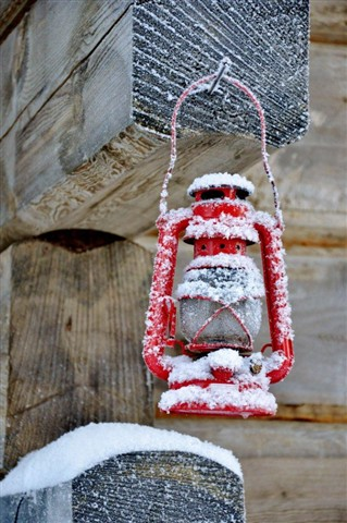 frozen red lamp-