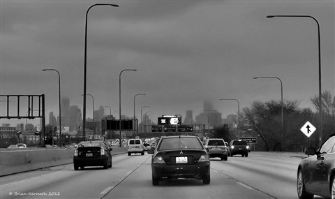 A dreary drive on the Interstate in the Windy City
