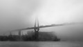 Koehlbrand Bridge in the Port of Hamburg on a foggy November day