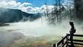 Morning mist over Mammoth Hot Springs