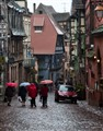 Rainy spring day in Alsace town.