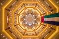 A view of the ceiling of Emirates Palace Hotel, situated in Abu Dhabi, UAE.