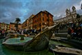 The Fountain of the Old Boat and busy Spanish Steps